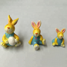 Handmade Easter Sitting Rabbit with Egg Resin Animal Crafts for Decoration Gift