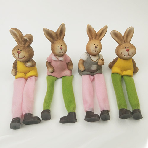 Resin Rabbit Crafts with Cloth Legs